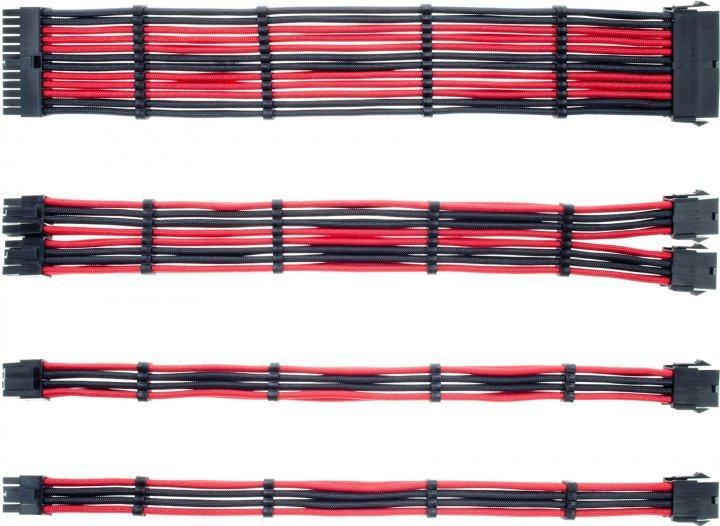 Набір кабелів QUBE для блоку живлення 1*24P MB, 1*4+4P CPU,2*6+2P VGA Black-Red (QBWSET24P8P2x8PBR) - зображення 1