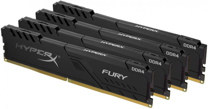 Оперативная память HyperX DDR4-3200 131072MB PC4-25600 (Kit of 4x32768) Fury Black (HX432C16FB3K4/128) - изображение 1