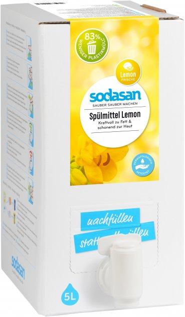 Органічний рідкий засіб-концентрат для миття посуду Sodasan Лимон 5 л (4019886002172) - зображення 1