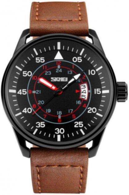 Чоловічий годинник Skmei 9113 Black Brown Band BOX (9113BOXBLBR) - зображення 1