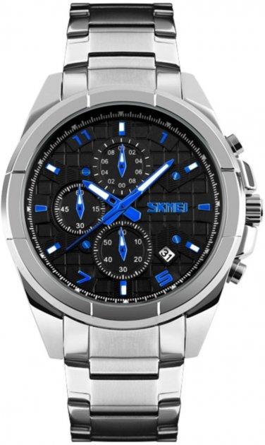 Мужские часы Skmei 9109 Silver Black Dail BOX (9109BOXSBK) - изображение 1