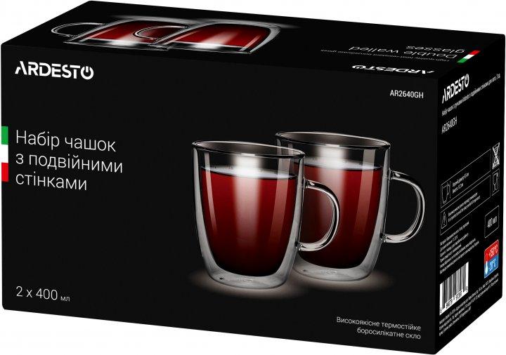 Набор чашек с ручками Ardesto с двойными стенками для латте 400 мл х 2 шт (AR2640GH) - изображение 1