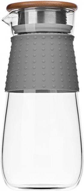 Кувшин с крышкой Ardesto Боросиликатное стекло + силик. рукав + крышка – Нерж. сталь/дерево 1200 мл (AR2612PGS) - изображение 1