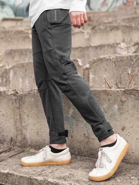 Штани спортивні чоловічі BERSENSE SPIYDER трикотаж темно-сірі, L - изображение 1