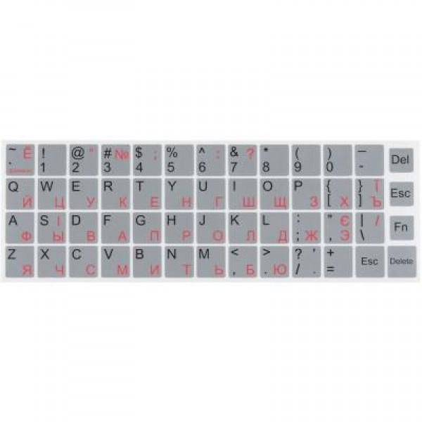 Наклейка на клавіатуру silver, рос/укр/анг, непрозора, срібляста - изображение 1