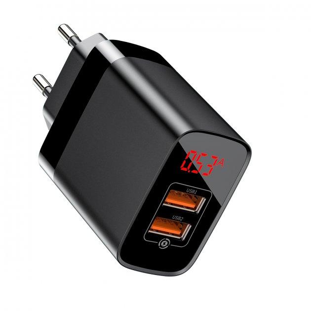 Мережевий зарядний пристрій Baseus Mirror QC Digital Display, 2 порти USB, 3.4 A, Чорний (CCJMHA-A01) - зображення 1