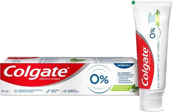 Зубная паста Colgate от кариеса 0% Бодрящая Свежесть 130 г (7509546652375) - изображение 1