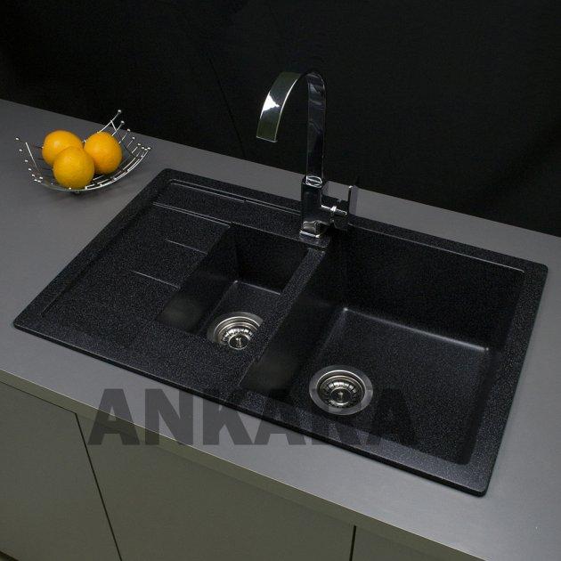 Гранітна мийка кухонна Ankara Premium M чорна - зображення 1