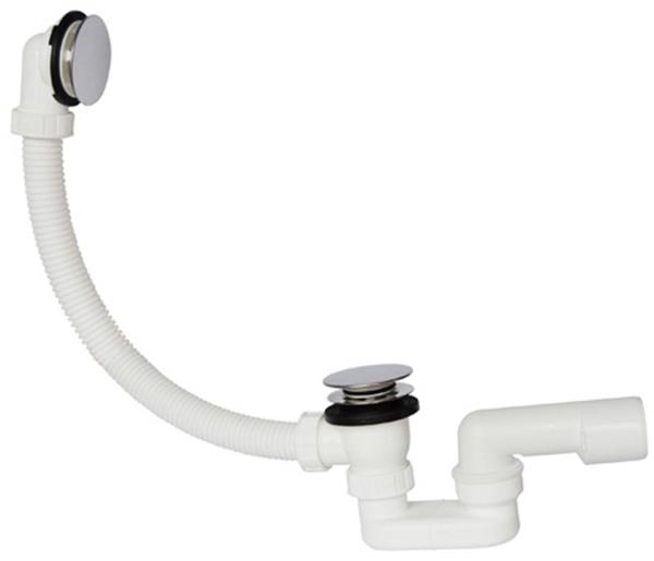 Сифон для ванни PLAST BRNO трубний 50 мм 40/50 мм клік-клак з переливом 750 мм (EVK0157) - зображення 1