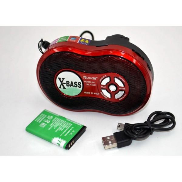Акустична система радіоприймач портативна колонка з радіо акумуляторна з функцією Bluetooth USB SD Ліхтарик Червона Golon (RX-143BT) - зображення 1