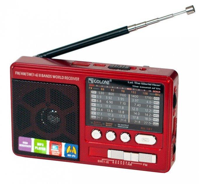 Аккумуляторный портативный радиоприемник FM радио колонка с фонариком и USB выходом Power Bank Черно-красный Golon (RX-2277) - изображение 1