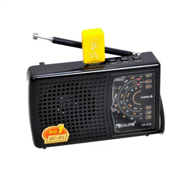 Акумуляторний портативний радіоприймач FM радіо з USB виходом і ліхтариком Чорний Golon (RX-1270) - зображення 1