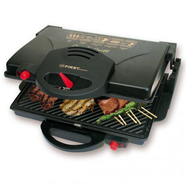 Розкладний притискної електричний гриль-тостер, барбекю для м'яса, овочів, паніні контактний 2000 Вт Чорний First (FA-5330) - зображення 1
