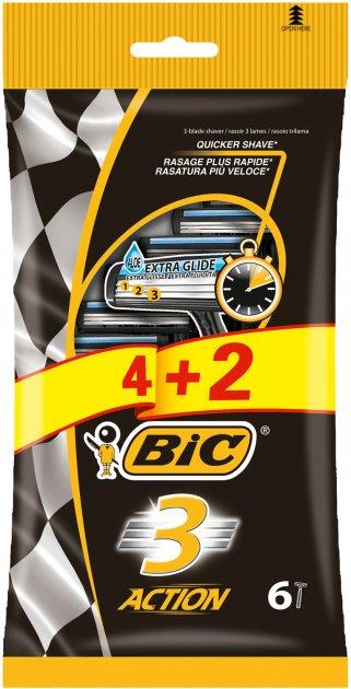 Набор бритв без сменных картриджей Bic Action 3 4 + 2 шт (3086123399327) - изображение 1