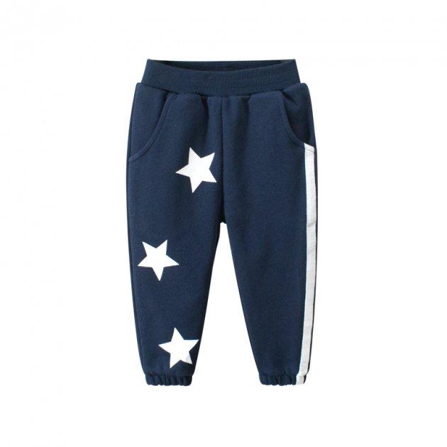 Штаны детские утеплённые Белые звёзды, синий 27 KIDS (140) Темно-синий (52261) - изображение 1