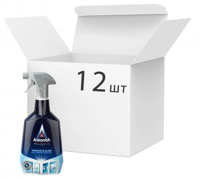 Упаковка средства для мытья окон и стекла Astonish с эффектом анти-запотевания 750 мл х 12 шт (55060060211228) - изображение 1