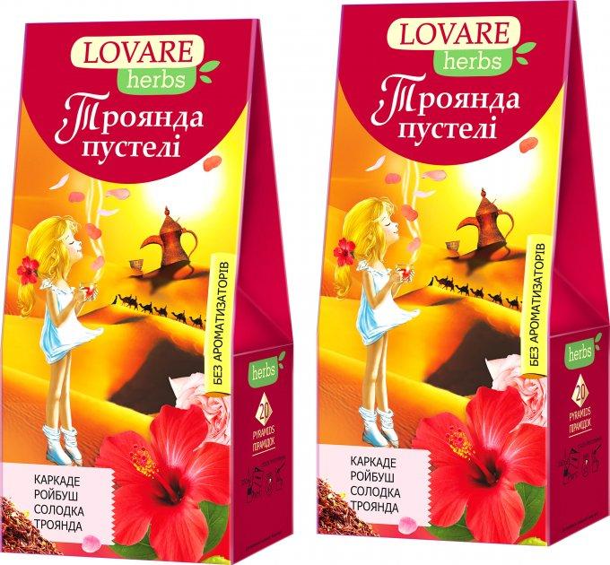 Упаковка чая Lovare Смесь цветочного с ройбушем, цедрой апельсина, ягодами и специями Роза пустыни 2 пачки по 20 пирамидок (2000006781345) - изображение 1