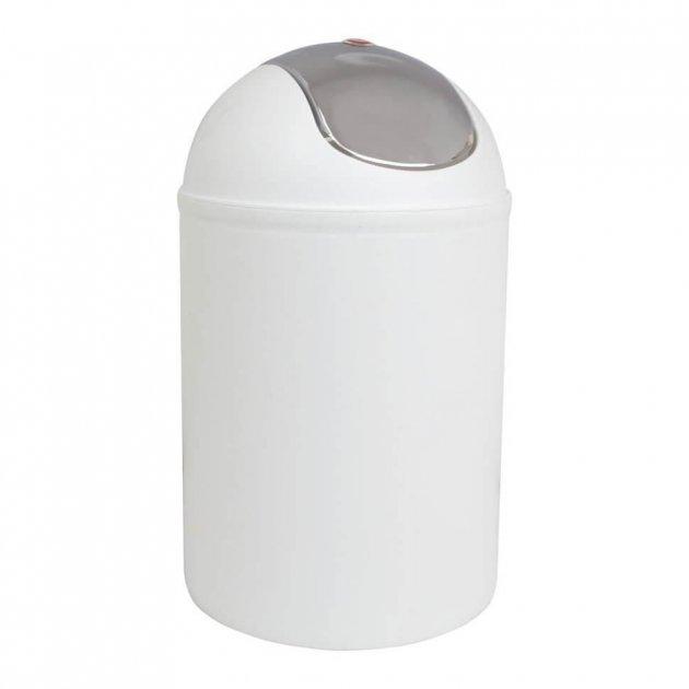 Відро Trento Deco біле з хромованою кришкою 20х20х31см - зображення 1