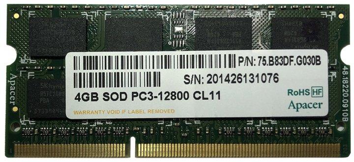 Оперативна пам'ять DDR3 SO-DIMM Apacer 4Gb 1600 C11 1.5 v (75.B83DF.G030B) - зображення 1