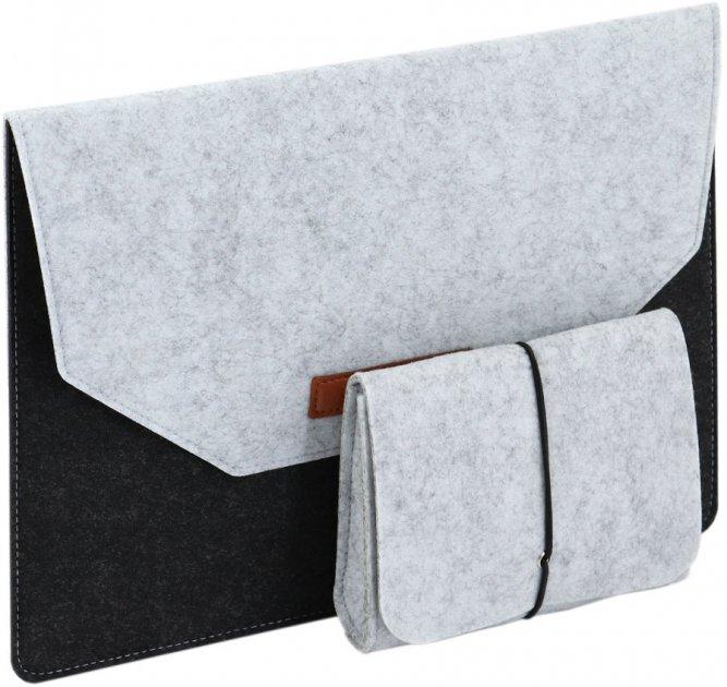"""Чехол для ноутбука Traum 15"""" с дополнительным чехлом для кабеля Black/Grey (7112-43) - изображение 1"""
