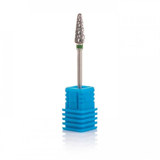Фреза твердосплавна Nail Drill для зняття гель-лаку (Конус, напівсферичний кінець), 194 220 045 (зелена насічка). - зображення 1