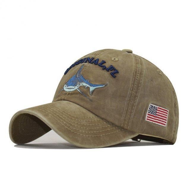 Кепка мужская с логотипом акулы Original Florida Shark USA Хаки (SHARKCAP-KHAKI) - изображение 1