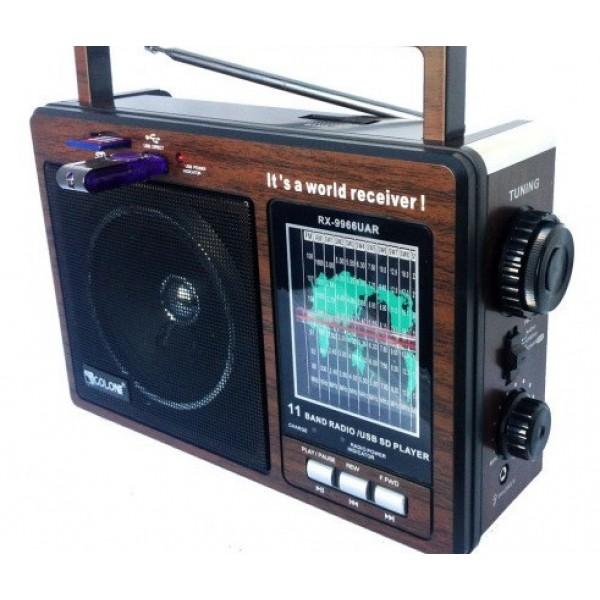 Всеволновой портативный Радиоприемник GOLON RX-9966 UAR с USB входом mp3 Аккумуляторный - изображение 1
