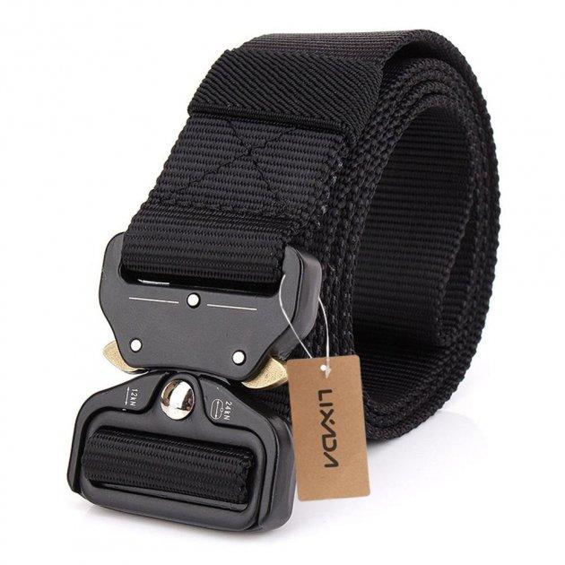 """Тактичний нейлоновий армійський ремінь Tactical Belt з пряжкою """"COBRA"""" / 125 см / Black - зображення 1"""