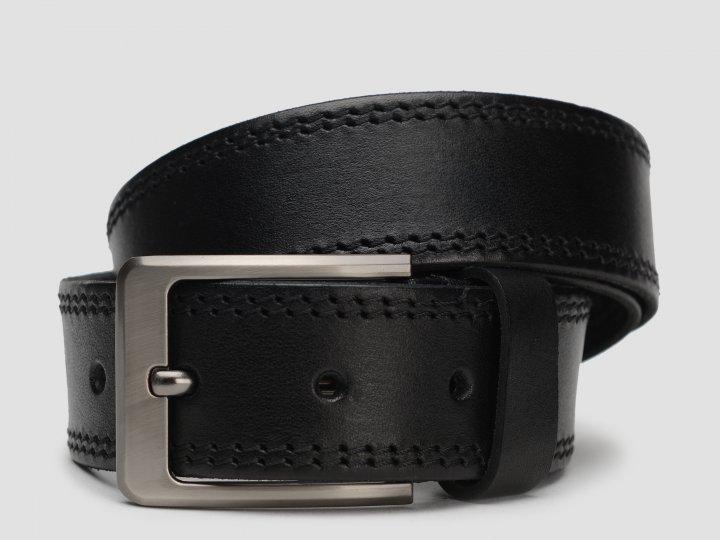 Мужской ремень кожаный Laras vgench3a 115-125 см Черный (ROZ6400013717) - изображение 1