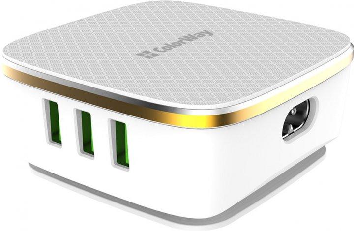 Сетевое зарядное устройство ColorWay 6 USB (1QC3.0 + 5 AUTO ID) 7A (35W) White (CW-CHS019Q-WT) - изображение 1