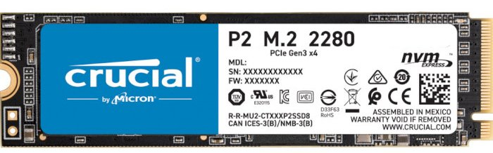 Crucial P2 NVMe 250GB M.2 PCIe 3.0 x4 3D NAND QLC (CT250P2SSD8) - зображення 1