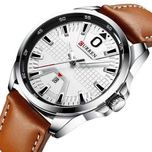 Наручний годинник AlexMosh чоловічі Curren Silver-White-Brown (2011) - зображення 1