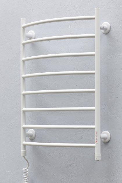 Полотенцесушитель ТЕПЛЫЙ МИР Овал плюс белый левосторонний с кнопочным переключателем - изображение 1