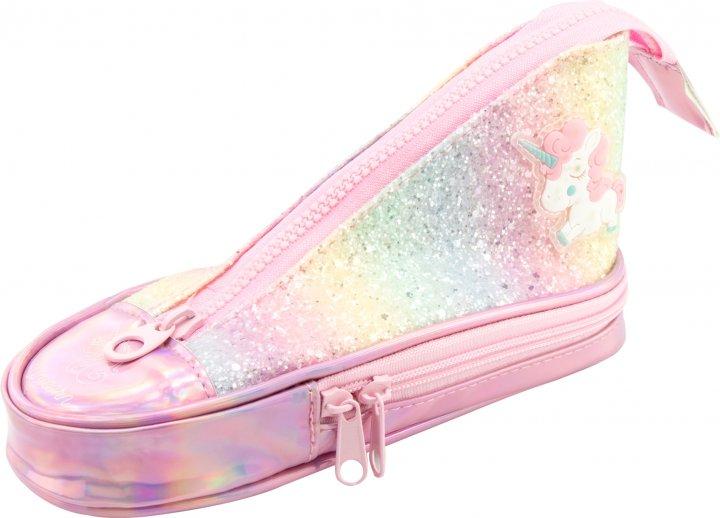 Пенал в виде кеда Cool For School с блестками 2 отделения Розовый (5986-pink) - изображение 1