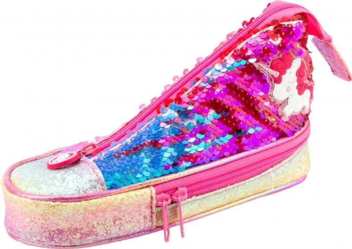 Пенал в виде кеда Cool For School с пайетками 2 отделения Розовый (5987-pink) - изображение 1