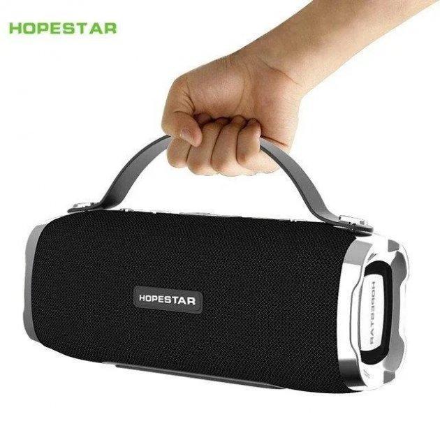 Потужна портативна стерео колонка HOPESTAR H24 , FM, SD, Bluetooth, USB. Sound System 2 динаміка Black з вологозахистом з FM приймачем (Bluetooth, MP3, AUX, Mic, FM) - зображення 1