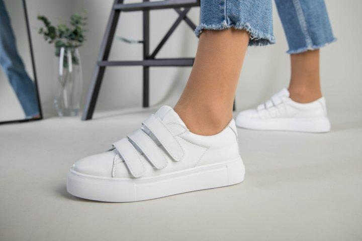 Кеды женские замшевые на липучках LuxuryShoes 7355/38 Белые - изображение 1