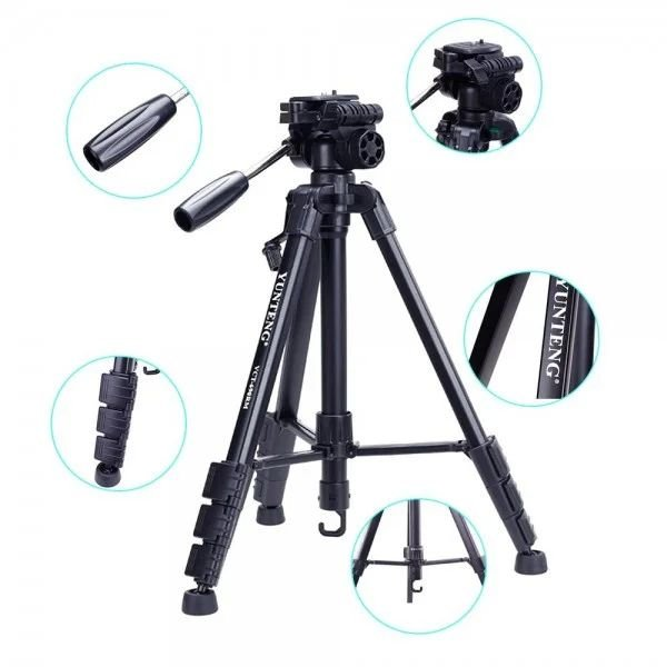 Штатив усиленный в чехле для камеры смартфона фотоаппарата c пультом Yunteng VCT 3388 Black (zhb0453) - изображение 1