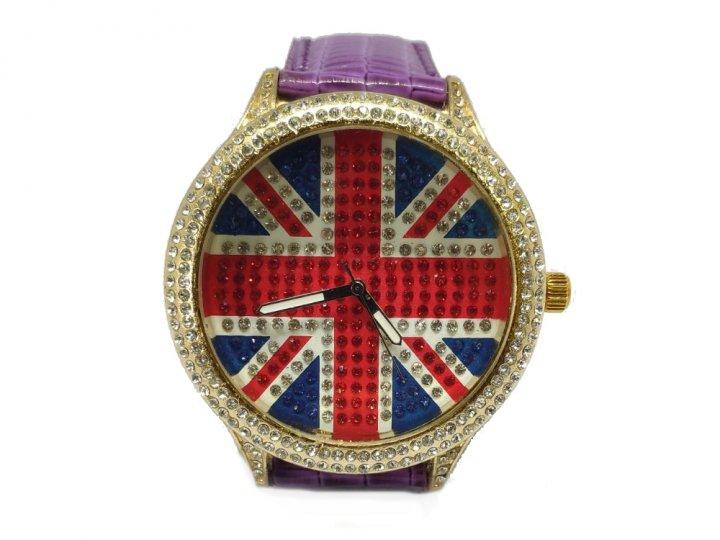 Часы BauTech Британский флаг 2021 со стразами наручные женские Фиолетовый (1007-738-02) - изображение 1
