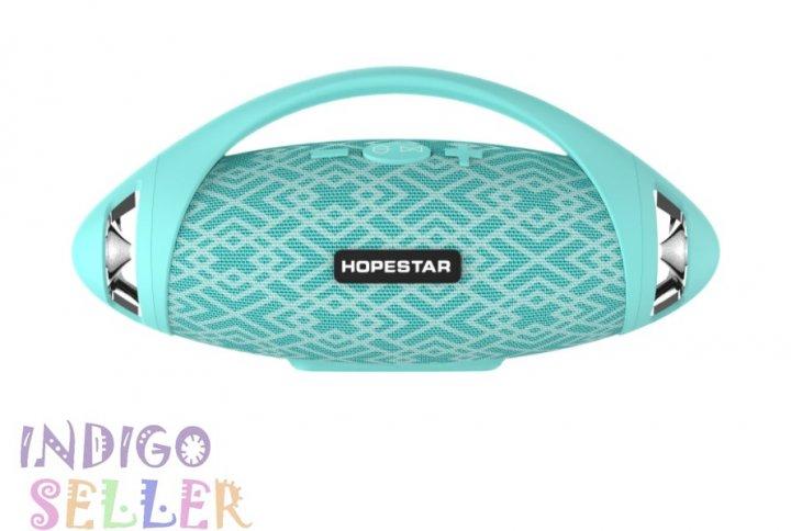 Потужна портативна вологозахищена bluetooth колонка Hopestar H37 з FM Stereo берюзовый - зображення 1