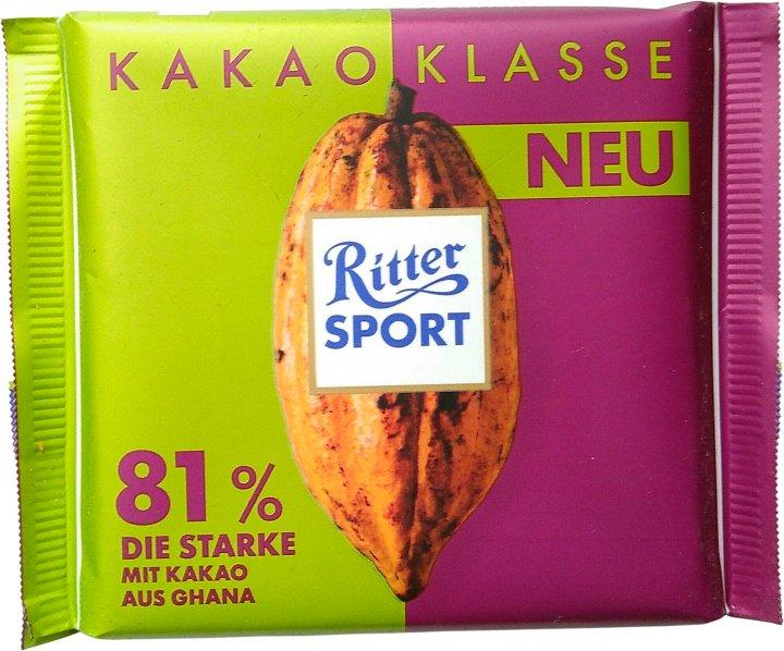 Шоколад Ritter Sport насыщенный темный 81% какао 100 г (4000417938008) - изображение 1