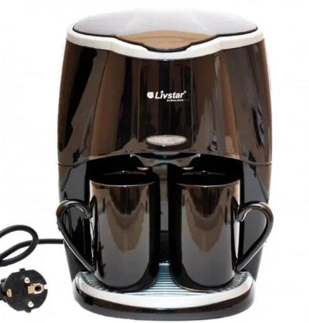 Капельная кофеварка в комплекте две керамические жаропрочные чашки Livstar LSU-1190 черная - изображение 1