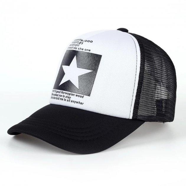 Кепка тракер Звезда с сеточкой Бело - черная, Унисекс - изображение 1
