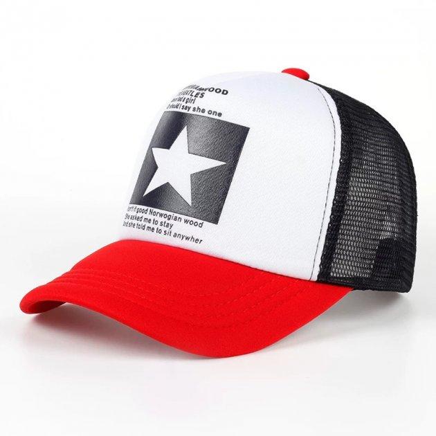 Кепка тракер Звезда с сеточкой Красно - белая, Унисекс - изображение 1
