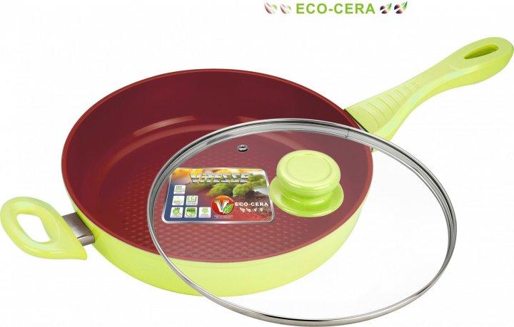Сковорода алюминиевая Vitesse с крышкой 28см салатовая (VS-2262) - изображение 1