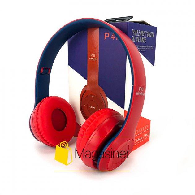 Беспроводные Bluetooth наушники UKC P47 красные с синим (1463) - изображение 1