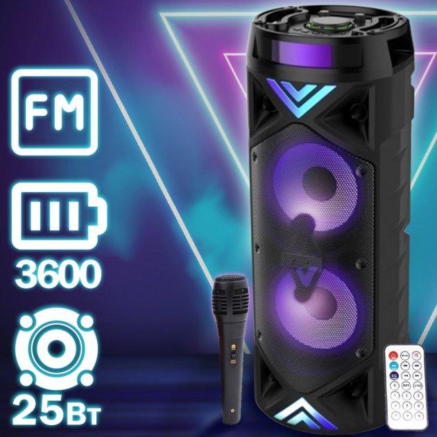 Переносная колонка Column 201 музыкальная портативная + Bluetooth USB с аккумулятором + FM радио + AUX + microSD, блютуз – Беспроводная мощная акустическая стерео система с LED подсветкой + проводной микрофон для улицы и дома, Black - изображение 1