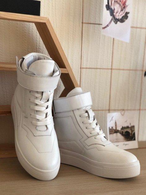 Высокие кеды на липучке Shoozi bench кожаные 36 белые - изображение 1