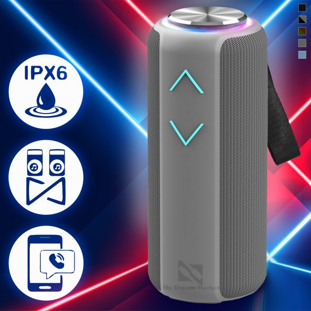 Музыкальная колонка Hopestar P30 pro Bluetooth портативная беспроводная - Переносная блютуз акустическая USB система –TWS + водонепроницаемый корпус с мощным аккумулятором для улицы и дома, Grey - изображение 1
