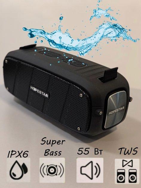Беспроводная портативная мощная bluetooth колонка Sound System A20 Pro Hopestar Оригинал 55ВТ с Влагозащитой IPX6 и функцией Зарядки устройств Черная - изображение 1